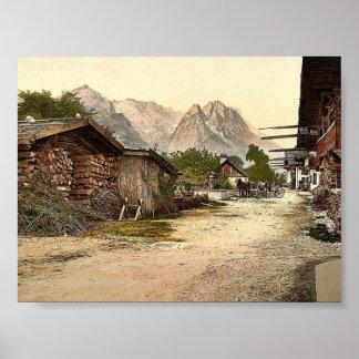 村の通り、Garmischの上部のババリア、ドイツc ポスター