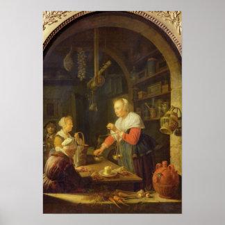 村の食料商人1647年 ポスター