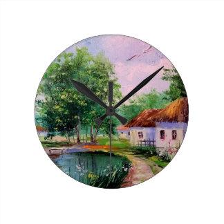 村 ラウンド壁時計