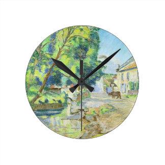 村(紙でパステル調) ラウンド壁時計