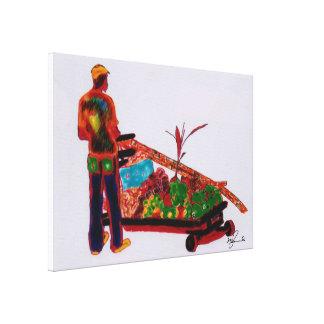 杖の人のジャマイカコンピュータ絵画 キャンバスプリント