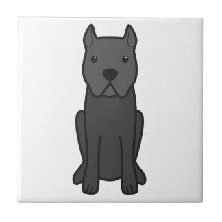 杖のCorso犬の漫画 正方形タイル小