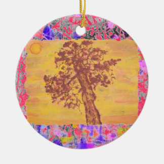 杜松の木の日没の滴り セラミックオーナメント