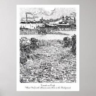 束およびArlesヴィンチェンツォゴッホが付いている小麦畑 ポスター