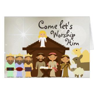 来られる彼を出生のクリスマスカード崇拝して下さい グリーティングカード