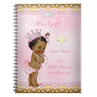 来客名簿のプリンセスのベビーシャワーのピンクの民族の女の子 ノートブック