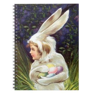 来客名簿のヴィンテージのイースターのウサギの衣裳は卵を隠します ノートブック