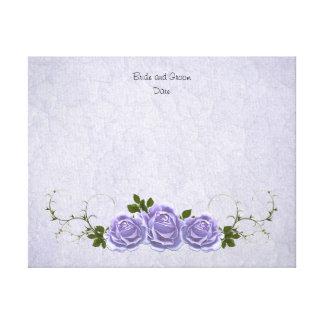 来客名簿の代わりとなるラベンダーのバラ キャンバスプリント