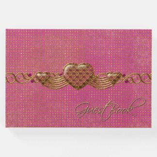 来客名簿を結婚するシックなピンクおよび金ゴールドのハート ゲストブック