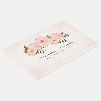 来客名簿を結婚する花の水彩画の絵画 ゲストブック