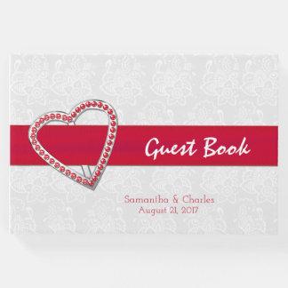 来客名簿を結婚する赤い宝石のハート ゲストブック
