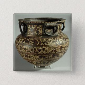 東のギリシャの東洋化のdinos、中間の野生ヤギs 5.1cm 正方形バッジ