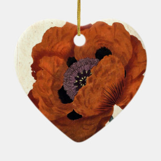東のケシ 陶器製ハート型オーナメント