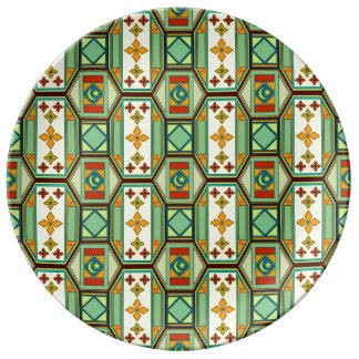 東の幾何学的なパターン 磁器プレート