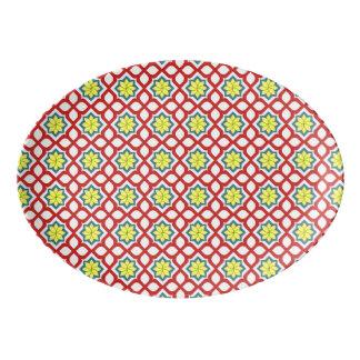 東の幾何学的な花パターン 磁器大皿