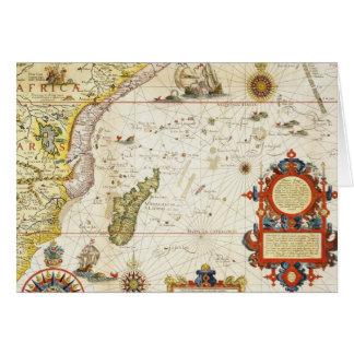 東アフリカおよびマダガスカル1596年の地図(手のcolo カード