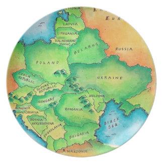 東ヨーロッパの地図 プレート
