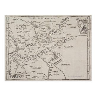 東ヨーロッパの旧式な地図 ポストカード
