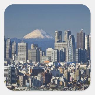 東京のShinjuku地区のスカイライン、富士山、 スクエアシール