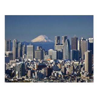 東京のShinjuku地区のスカイライン、富士山、 ポストカード