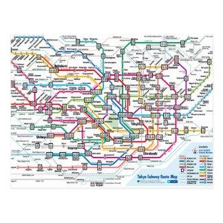 東京地下鉄の地図の郵便はがき ポストカード