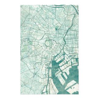東京地図の青いヴィンテージの水彩画 便箋