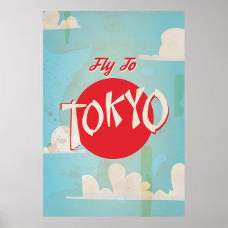 東京旅行ポスターへのヴィンテージのレトロのはえ プリント