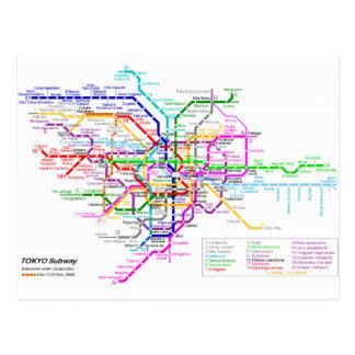 東京日本地下鉄の地図 ポストカード