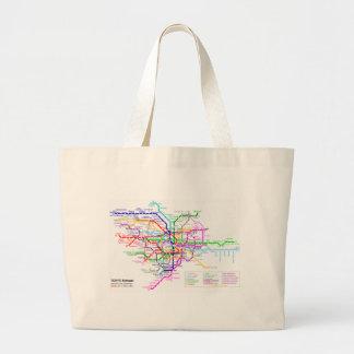 東京日本地下鉄の地図 ラージトートバッグ