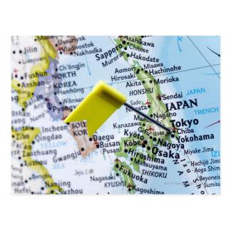 東京、地図、クローズアップの日本に置かれるピンの地図を描いて下さい ポストカード