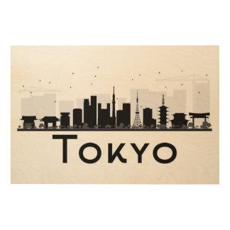 東京、日本|の黒く及び白い都市スカイライン ウッドウォールアート