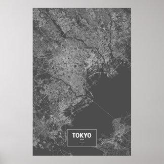 東京、日本(黒で白い) ポスター