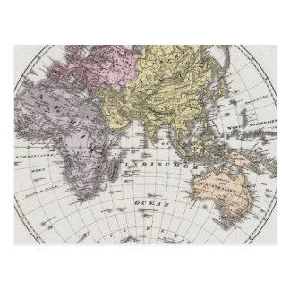 東半球の地図書の地図 ポストカード
