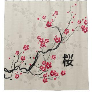 東洋のスタイルの桜の桜の芸術 シャワーカーテン