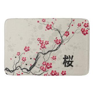 東洋のスタイルの桜の桜の芸術 バスマット