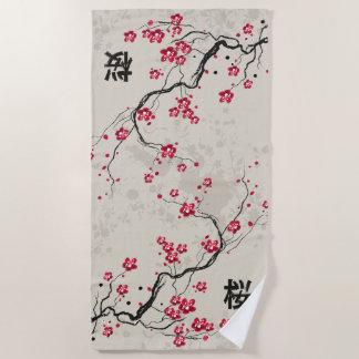 東洋のスタイルの桜の桜の芸術 ビーチタオル