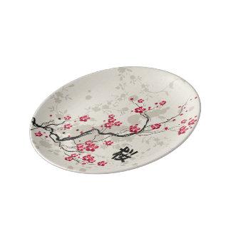 東洋のスタイルの桜の桜の芸術 磁器プレート
