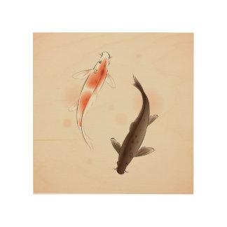 東洋のスタイルの絵画の陰陽のコイの魚 ウッドウォールアート