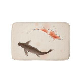 東洋のスタイルの絵画の陰陽のコイの魚 バスマット