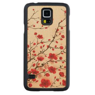 東洋のスタイルの絵画、春のプラム花 CarvedメープルGalaxy S5スリムケース