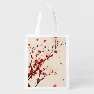 東洋のスタイルの絵画、春2のプラム花 エコバッグ
