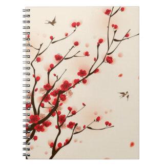 東洋のスタイルの絵画、春2のプラム花 ノートブック