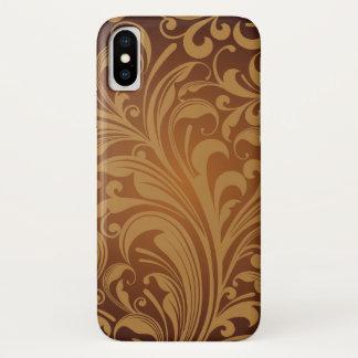 東洋のペルシャのペイズリー、渦巻-ブラウンの黒 iPhone X ケース