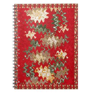 東洋の中国のな赤は絹の生地の質感を振ります ノートブック