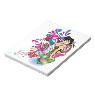 東洋の日本のな芸者女の子のかわいらしいdecoの花柄 ノートパッド