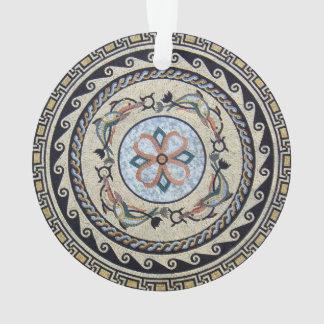 東洋の花の中心の円形浮彫りのモザイク オーナメント