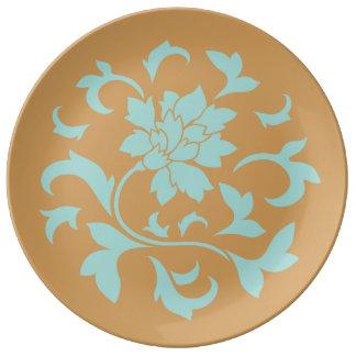 東洋の花-カサガイの貝-マスタードの黄色 磁器プレート