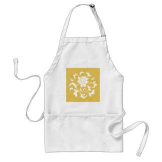 東洋の花-マスタードの黄色い円パターン スタンダードエプロン