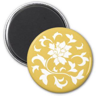 東洋の花-マスタードの黄色い円パターン マグネット