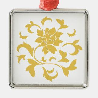 東洋の花-マスタードの黄色い円パターン メタルオーナメント